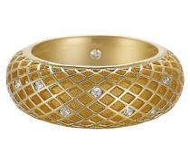 Ring 925 Sterling Silber rhodiniert Kristall Zirkonia Lattice pure gold weiß