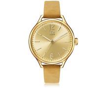 - ICE time Beige Gold - Beige Damenuhr mit Lederarmband - 013061 (Medium)