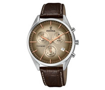 Erwachsene Chronograph Quarz Uhr mit Leder Armband F6860/2