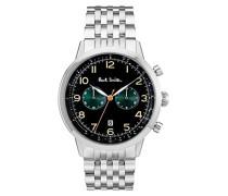 Chronograph Quarz Uhr mit Edelstahl Armband P10018