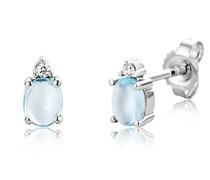 Ohrringe Weißgold 9 Karat/375 Gold Ohrstecker Blauer Topas mit Diamant Brillianten