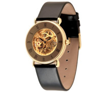 Armbanduhr Skelett Analog Handaufzug Leder 3572Pgr-s9