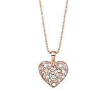 Kette 42 cm mit Anhänger Herz rosévergoldet veredelt mit Kristallen von Swarovski