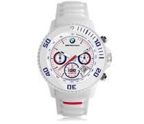 BMW Motorsport (sili) White - Weiße Herrenuhr mit Silikonarmband - Chrono - 000843 (Extra Large)