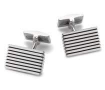 Sterling Silber Gestreifte Rechteckige Manschettenknöpfe
