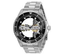 24692 Pro Diver Uhr Edelstahl mechanisch schwarzen Zifferblat