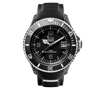 - ICE sporty Black White - Schwarze Herrenuhr mit Silikonarmband - 014613 (Extra Large)