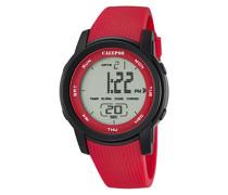 Armbanduhr Digitaluhr mit LCD Zifferblatt Digital Display und rot Kunststoff Gurt k5698/3