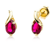 9 kt (375) Yellow Gold Pear Shape Earring with Ruby (1.08 ct) for Women