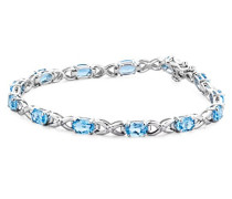 Armband Blau Topas und Brillanten 9 Karat 375 Weißgold SA964B