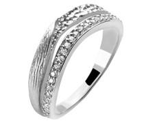 Ring 925 Silber rhodiniert mattiert Zirkonia Weiß Brillantschliff