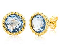 Ohrstecker Ohrringe 9 Karat (375) Topaz Stein 4.0 ct Gelbgold Quarz blau Rundschliff - MNA9051E