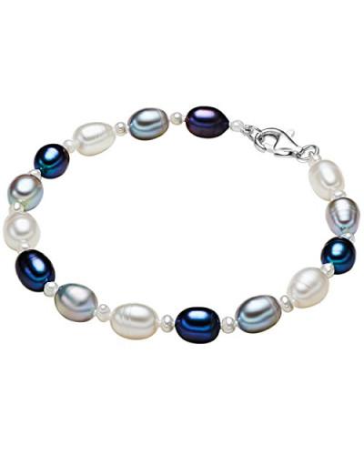 Armband Hochwertige Süßwasser-Zuchtperlen in ca. 4-6 mm Oval weiß / hellgrau / pfauenblau 925 Sterling Silber 19 cm - Perlenarmband mit echten Perlen weiss grau dunkelblau 474521