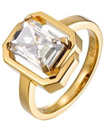 Ring 925 Sterling Silber rhodiniert Glas Zirkonia Néoclassicisme weiß