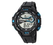 Digitale Armbanduhr mit LCD Dial Digital Display und schwarz Kunststoff Gurt k5695/6