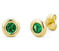 Ohrstecker 9 Karat – Elegante runde Ohrringe aus 375 Gelbgold mit grünem Smaragd (Rundschliff) – Gelbgold-Schmuck Ø 5