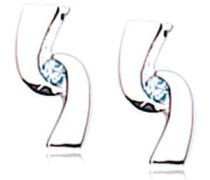 Ohrhänger Sterling-Silber 925 Ohrstecker rhodiniert Zirkonia blau