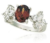 Ring 925 Silber rhodiniert Zirkonia braun Ovalschliff
