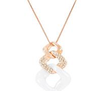 Halskette mit Anhänger - Rosévergoldetes 925 Sterling Silber und Premium Keramik in Schwarz - Swarovski Elemente und Diamanten - 45 cm - CRH159R
