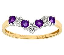 Herren-Ring 9 K Gelbgold Amethyst Diamant