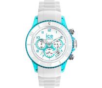 - ICE Chrono party Blue lagoon - Weiße Herrenuhr mit Silikonarmband - 013721 (Medium)