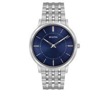 Ultra Slim 96A188 - Designer-Armbanduhr - Armband aus Edelstahl - blaues Zifferblatt