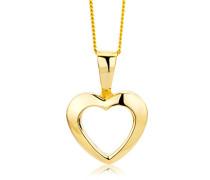 Kette - Halskette Gelbgold 9 Karat/375 Gold Kette mit Herz 45 cm