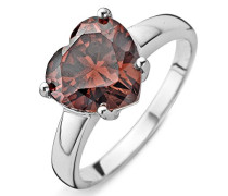 Ring 925 Silber rhodiniert Zirkonia Rot Herzschliff