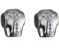 Bead Drops Edelstahl mit hellblauen Kristallen SCZ060