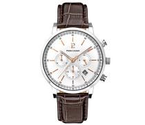 213 C124 – Week End Vintage – Armbanduhr – Quarz Chronograph – Zifferblatt Silber Armband Leder braun