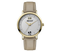 Disney Women's Union Quartz Watch with Weiß Dial and Beige PU Leather Strap ID00503