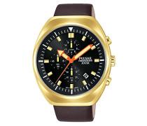 Chronograph Quarz Uhr mit Leder Armband PM3094X1