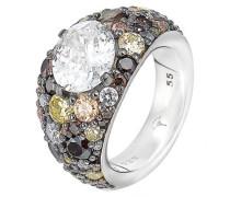 Ring 925 Sterling Silber rhodiniert Kristall Zirkonia Extreme Pavée mehrfarbig