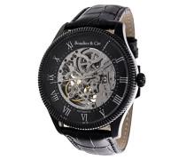 Dignatio Skeleton Collection Automatik Armbanduhr mit skelettieretem Zifferblatt und offener Unruh - Analoge Anzeige - Echtlederarmband Gehäuse aus Edelstahl Größe XL - CO13H16
