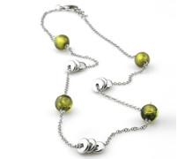 -LS 1248-1-3 Stahl Perle Glas Grün 68 cm