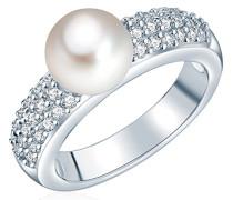 Ring Hochwertige Süßwasser-Zuchtperlen in ca. 8 mm Button weiß 925 Sterling Silber Zirkonia weiß - Perlenring mit echten Perle weiss 60201417