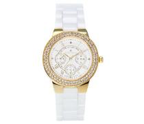 Armbanduhr Weiß Analog Quarz Premium Keramik Diamanten - STM15S9