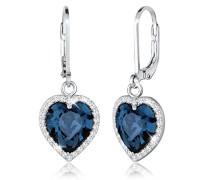 Ohrhänger Herzen 925 Sterling Silber mit Swarovski Kristallen Brillantschliff blau 0301651215