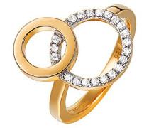 Ring 925 Sterling Silber rhodiniert Glas Zirkonia Enchevêtrement Weiß