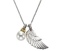 Kette mit Anhänger 925 Sterling Silber teilvergoldet Diamant 0.08 ct weiß Brillantschliff Perle Weiß 45 cm 360242016
