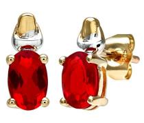 Damen-Ohrstecker 9 K 375 Bicolor Rubin rot