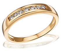 Ring Gelb Gold 585 Memoire 7 Diamanten 0,25 Karat