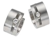 Stainless Steel Edelstahlcreole mit eingesetztem Kristall und einbuchtung 389010010
