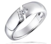 Ring 925 Sterling Silber Spannfassung 5 Zirkonia