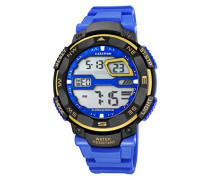 Digitale Armbanduhr mit LCD Dial Digital Display und Blau Kunststoff Gurt k5672/7
