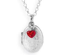 Medaillon MyName zum aufklappen Silber eismatt mit lackiertem Herzeinhänger ohne Gravur LD MY 353 6