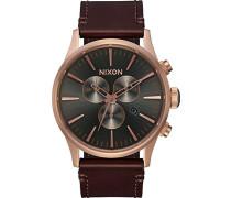 Erwachsene Chronograph Quarz Uhr mit Leder Armband A405-2001-00