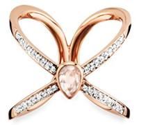 women Ring 925 Silber rose vergoldet Rosenquarz rosa Topas weiß 58 (18.5)