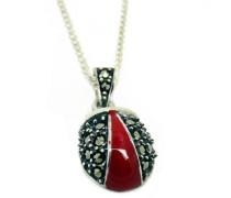 Halskette aus Sterling Silber und Markasit, Marienkäfer Anhänger, Länge der Kette 45