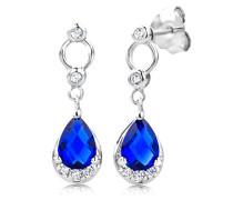 Ohrringe 925 Sterling- Silber Tropfenschliff Blau Saphir
